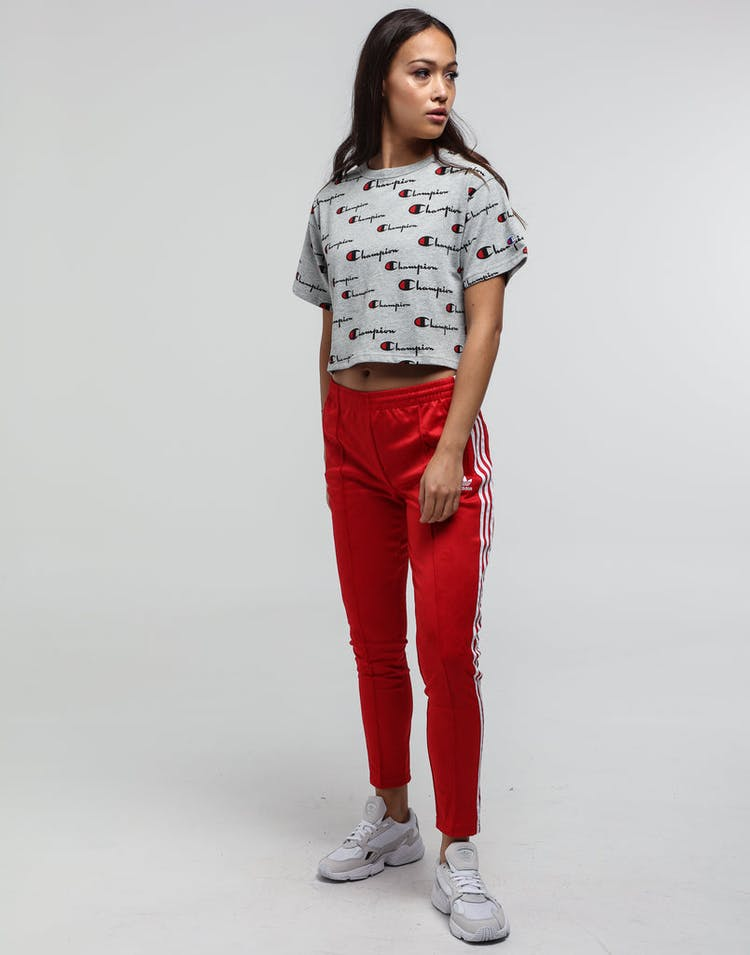Champion Women's Cropped Print Tee Oxford Grey Heather/Script