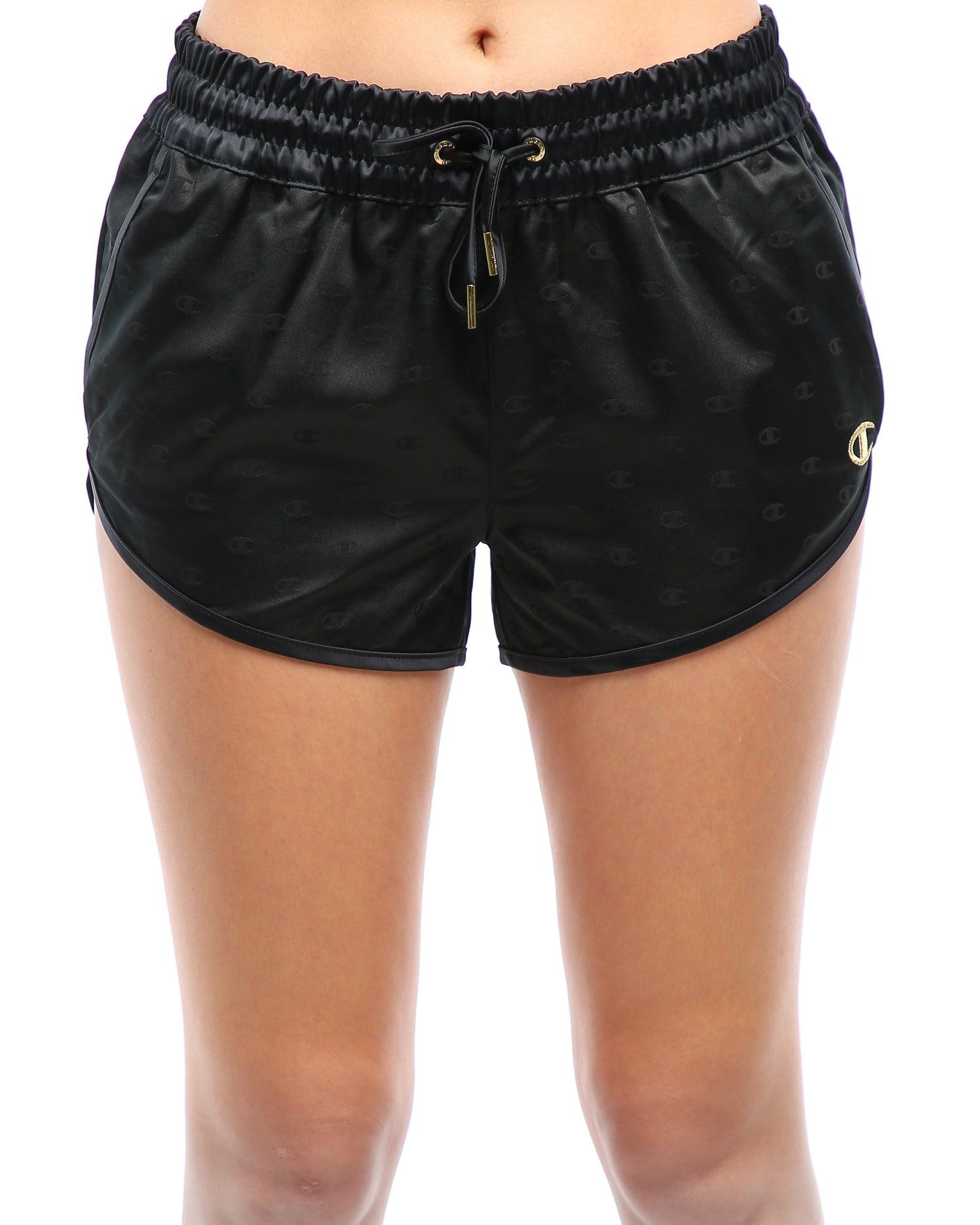 satin shorts black