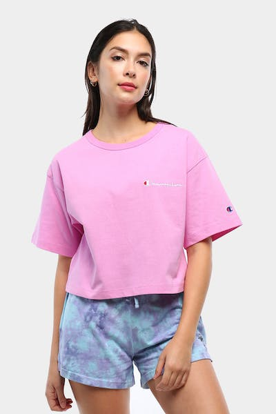 Champion Women's Heritage Mini Script Tee Pink Orchid