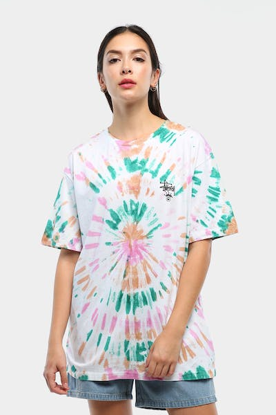 Stussy Women's Kingley OS Tee White Tie Die