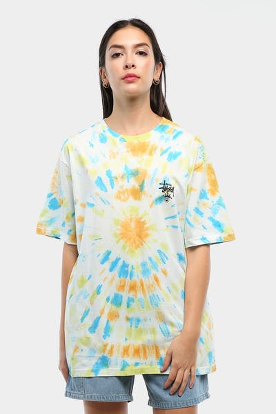 Stussy Women's Kingley OS Tee Yellow Tie Die