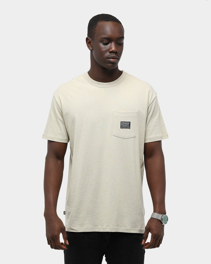 Stussy Men's Burly Label Pocket SS Tee Cement