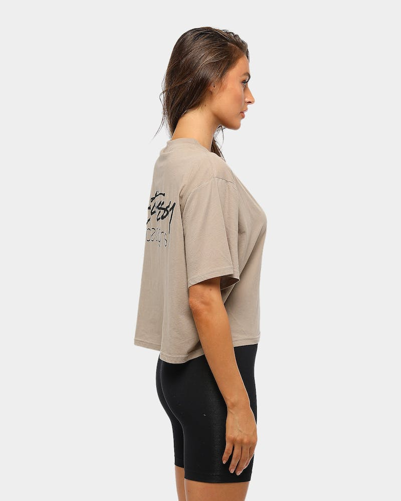 Stussy Women's Designs Boxy Tee Atmosphere Grey