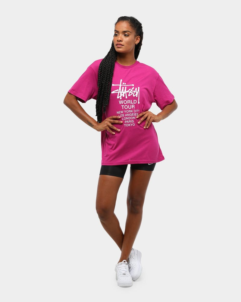 Stussy Women's World Tour BF Tee Berry