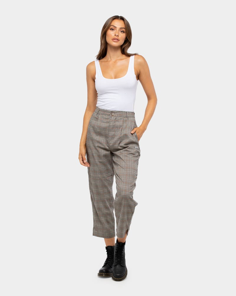 Stussy Women's Leon Check Pant Sand Check