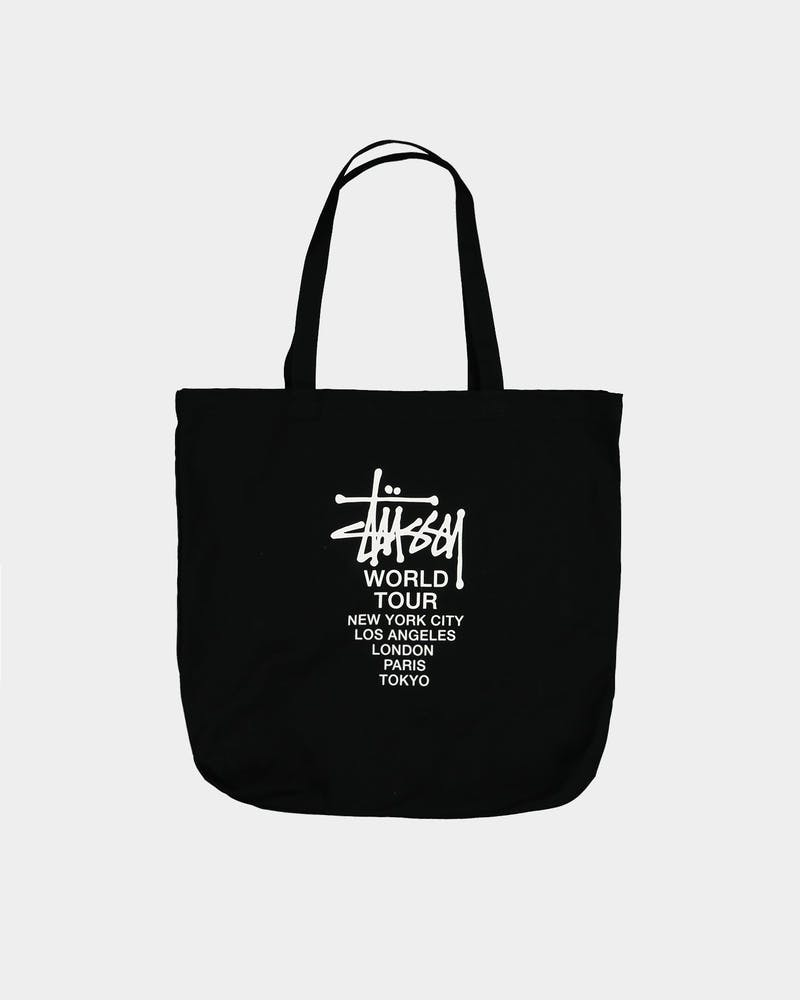 Stussy Unisex Graffiti World Tour Oversized Tote Bag Black