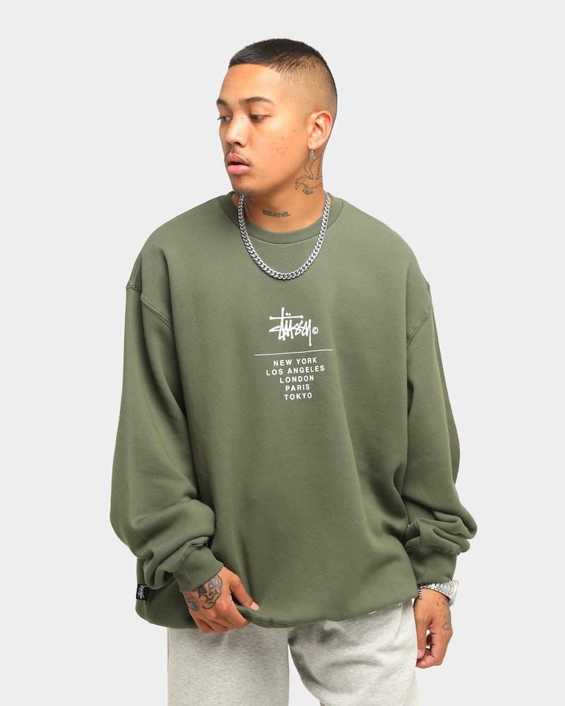 Stussy City Stack Crew Flight Green | Culture Kings