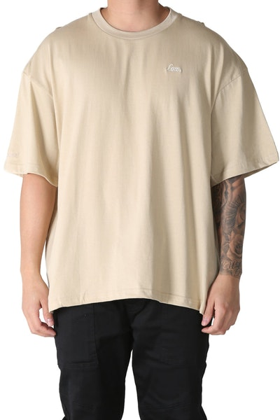 Lower Basso Embroidered Potato Tee Tan