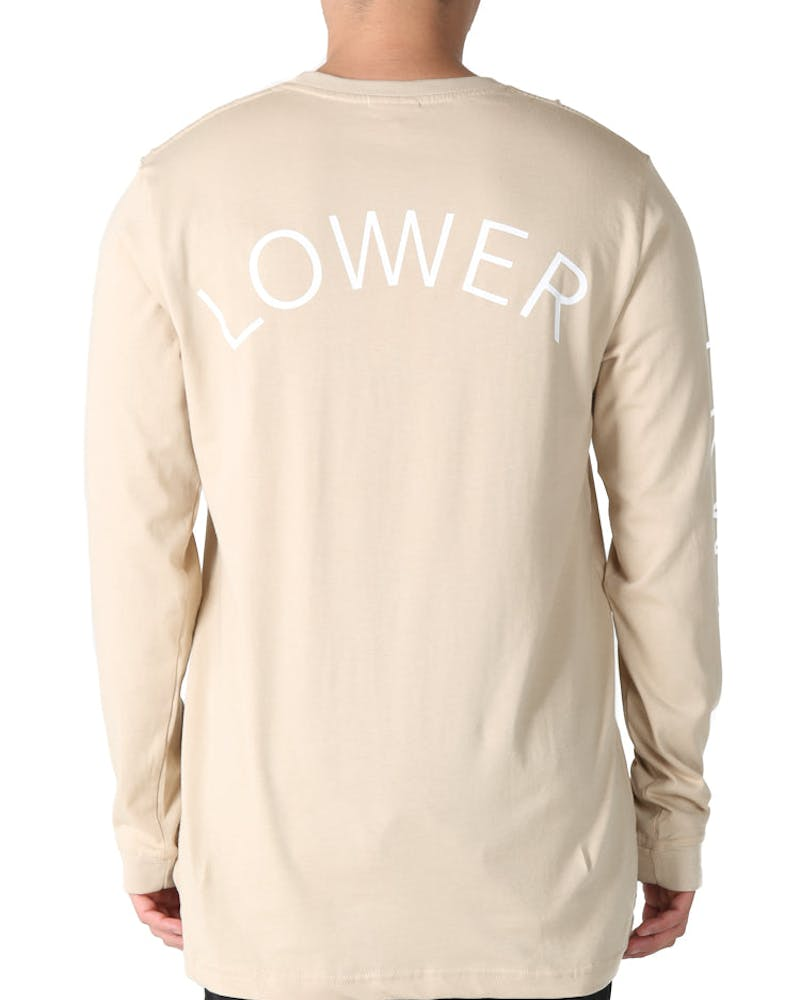 Lower QRS Keep Embroidered Long Sleeve Tee Tan