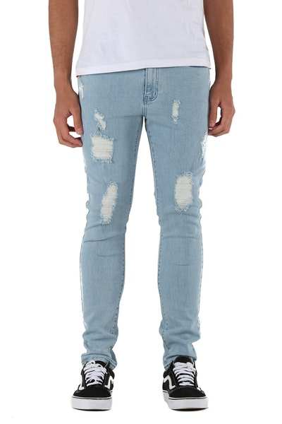 Lower Ripped Leaner Jean Blue Wash