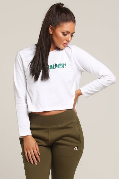 Lower Women's Swift Cropped LS Tee White