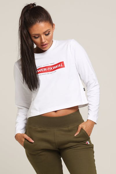 Lower Women's Logo Cropped Ls Tee White