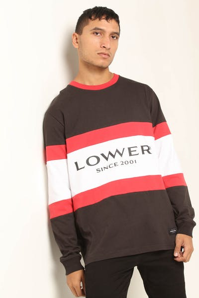 Lower Executive Panel LS Tee Charcoal/Red/White