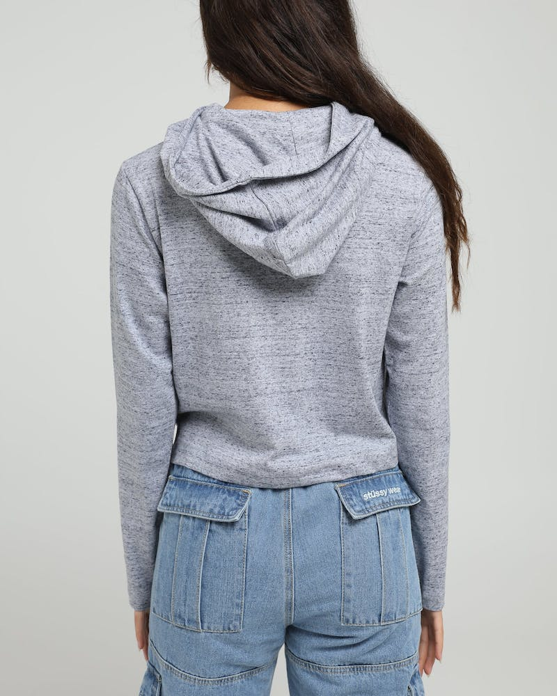 Lower Women's Crop Hooded LS Tee Brittle Silver Marle
