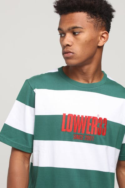 Lower QRS Dippin' Tee Green/White Stripe