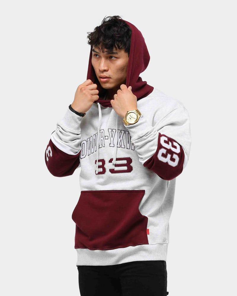 Lower Men's Stadium Enforcer Hoodie Silver Marle/Burgundy