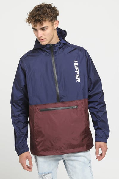 Huffer Spray Anorak Navy/Burgundy