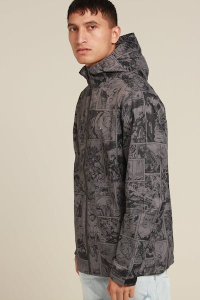 HUFFER X MARVEL 2.5L RAINSHELL JACKET CHARCOAL