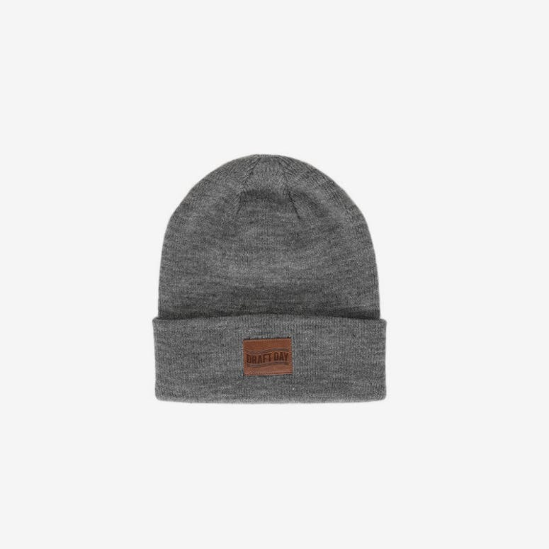 Leather Patch Beanie Charcoal Heathe