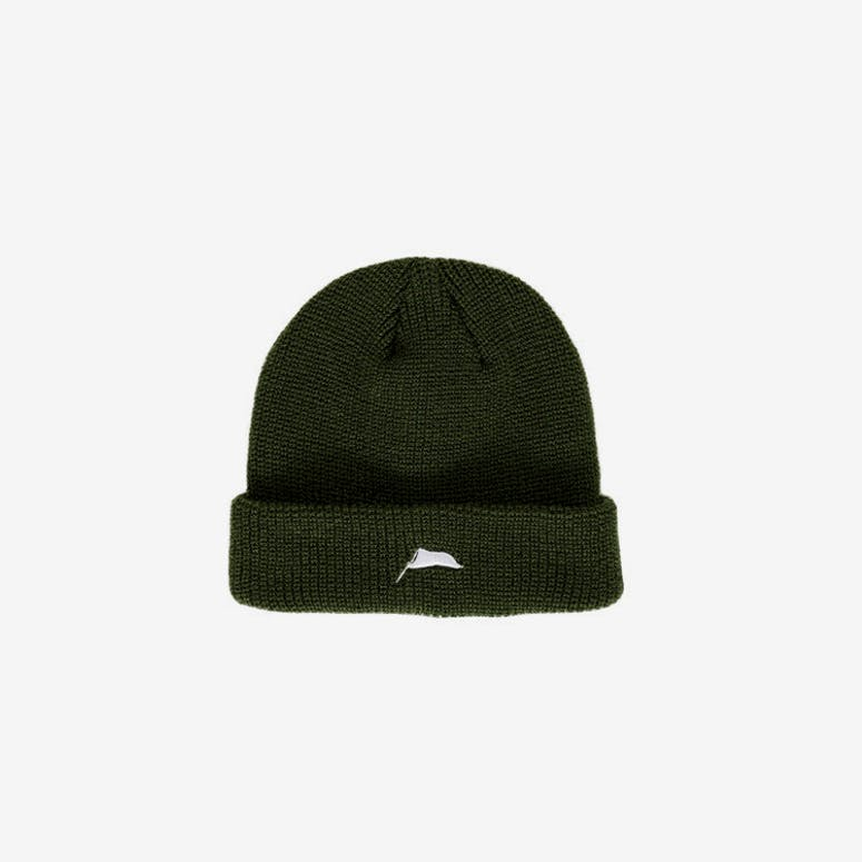 Flagged Ribbed Beanie Khaki Green