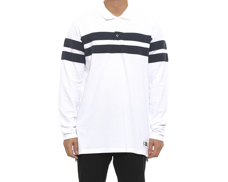 Piquet Polo L/sl Top White/navy