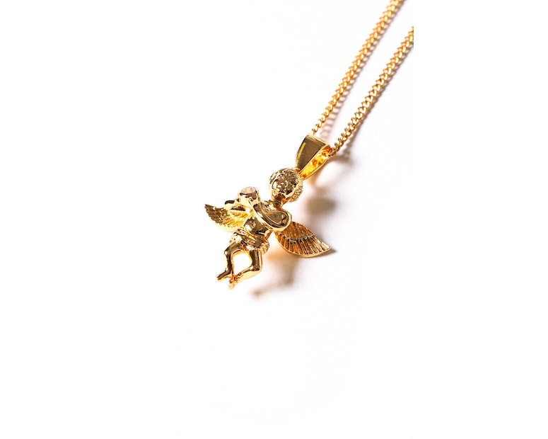 Angel CZ Stone Pendant Chain Gold