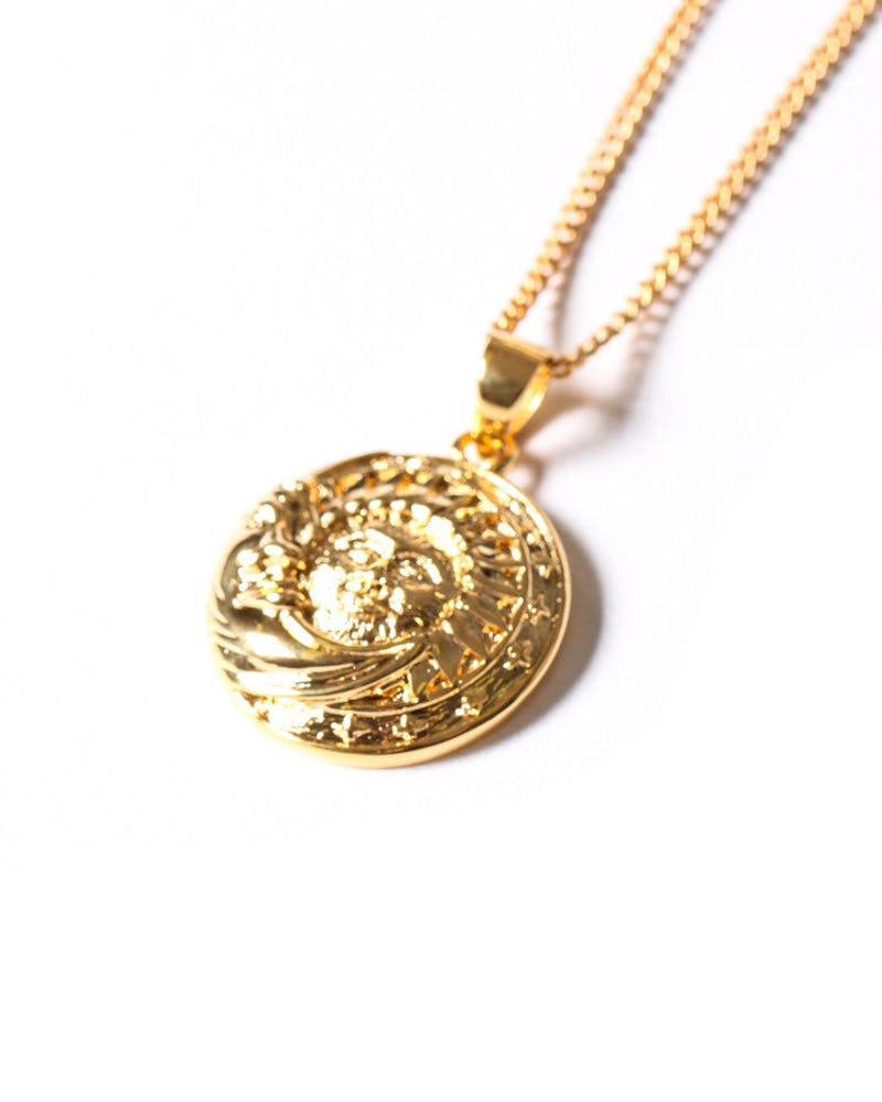 Sun/moon Pendant Chain Gold