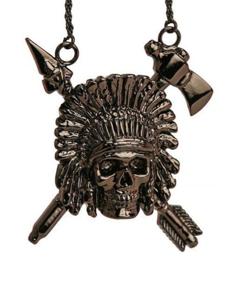 Indian Chief Necklace Gunmetal