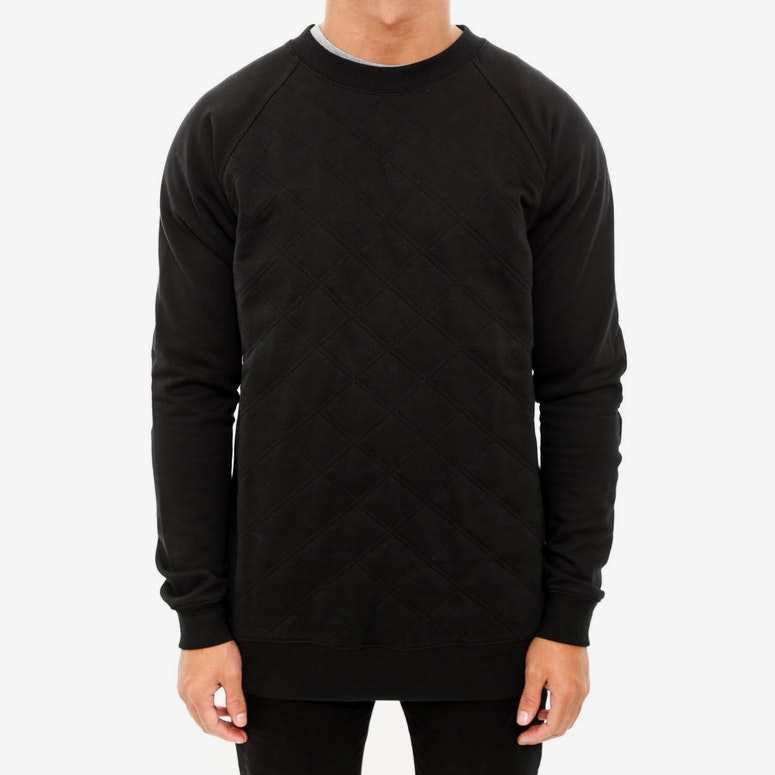 Blake Quilted Crewneck Black