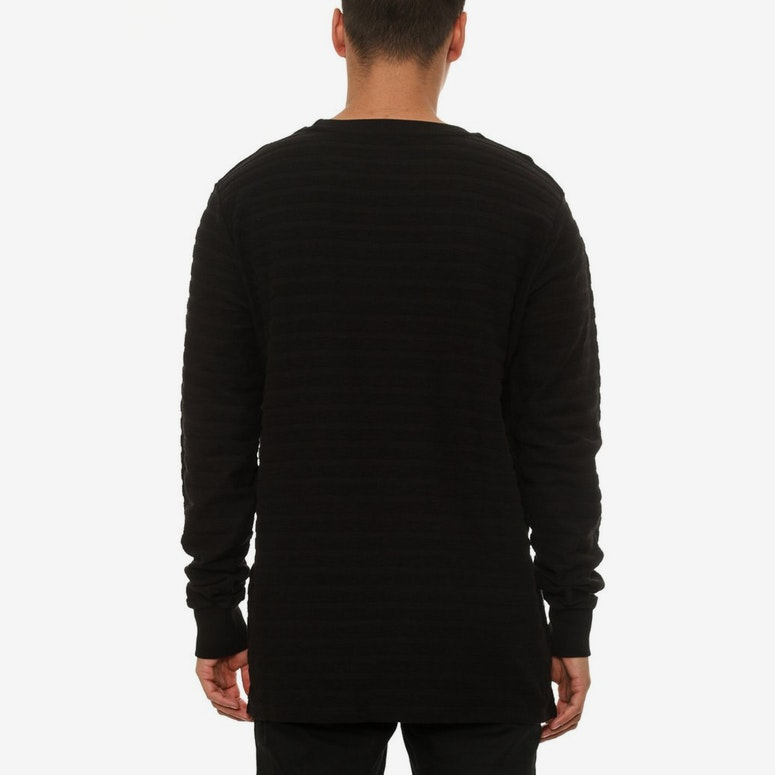 Luxe Ribbed Crew Black