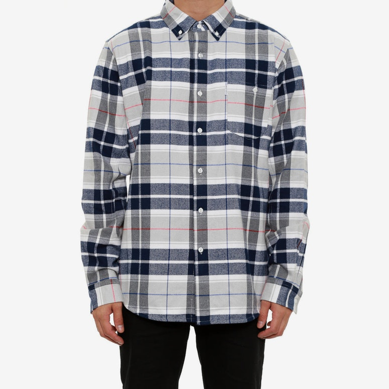 Rafter Plaid Woven Long Sleeve Top White