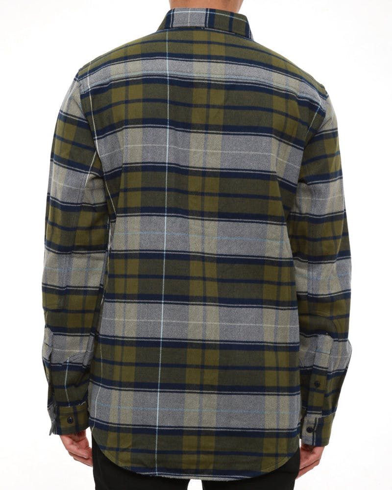 Rafter Plaid Woven Long Sleeve Top Navy