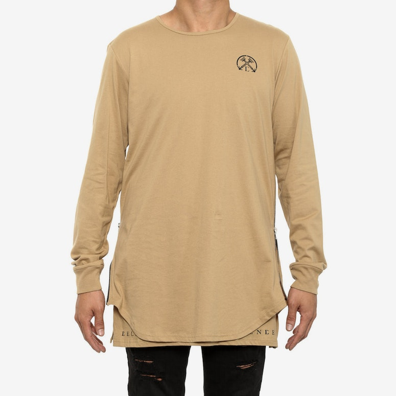 Side Zip Twofer Long Sleeve Beige