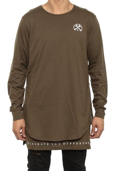 Side Zip Twofer Long Sleeve Olive