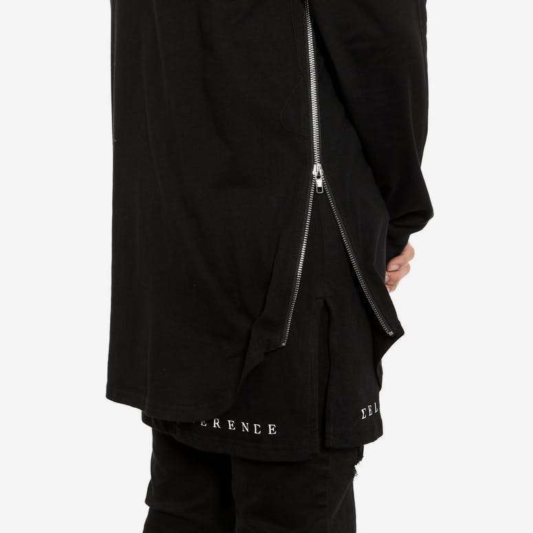 Side Zip Twofer Long Sleeve Black