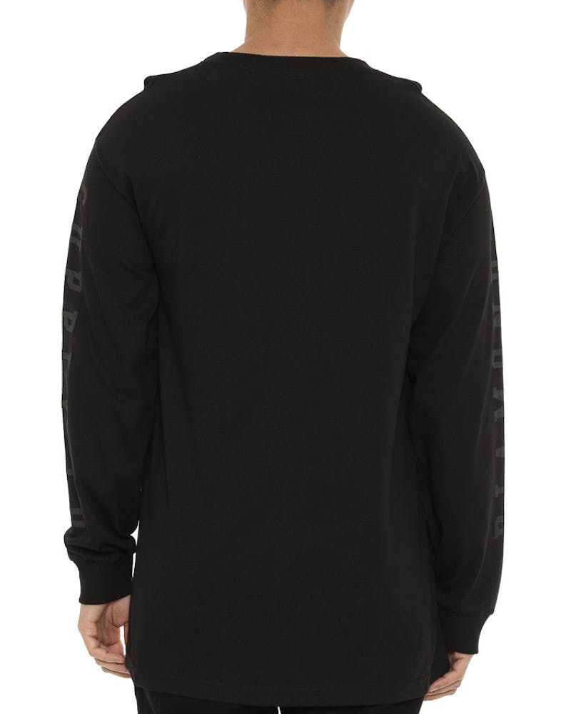 Tonal UN Polo Long Sleeve Tee Black