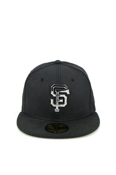 factory authentic 2892e e602c San Francisco Giants Metal Badge Fashion Fitted Black silver ...