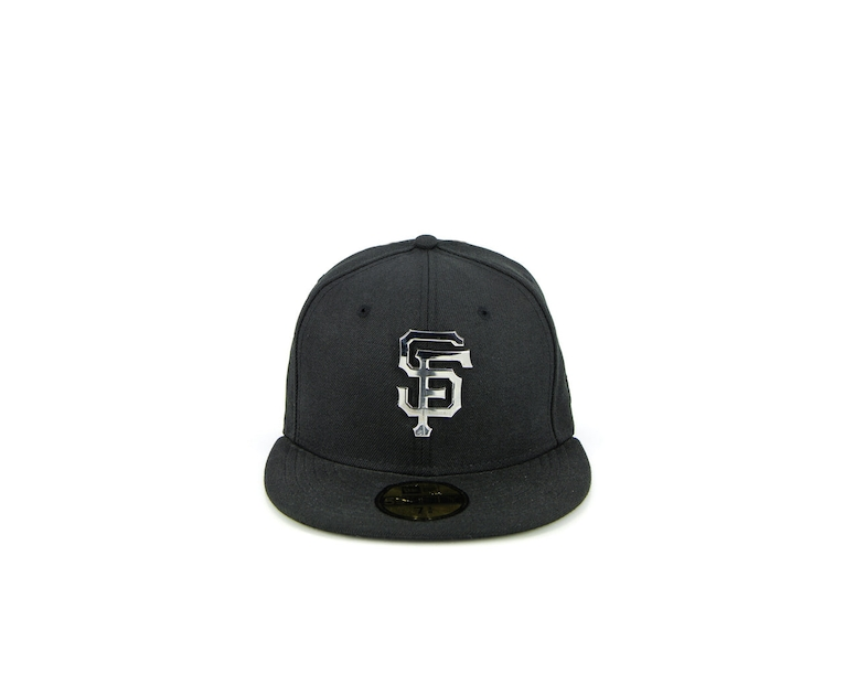 San Francisco Giants Metal Badge Fashion Fitted Black/silver