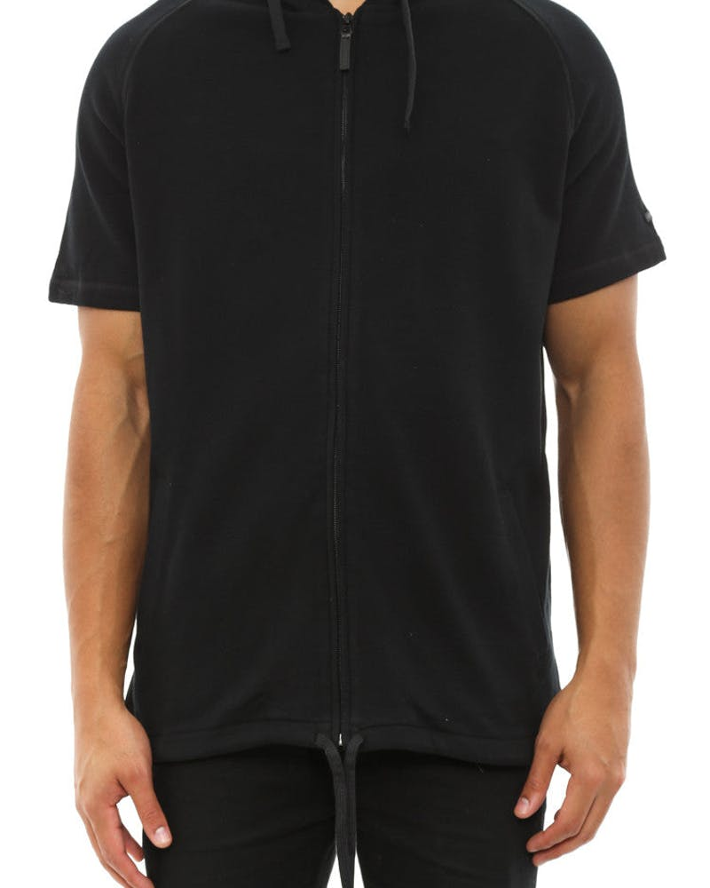 Tyson Short Sleeve Zip Hood Black