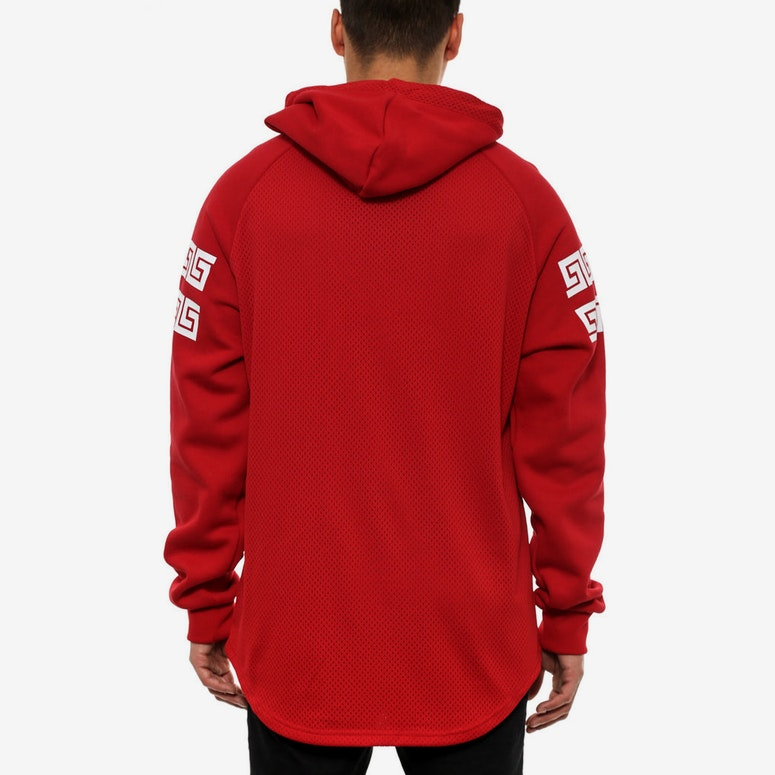 Chaser Hooded Henley Red