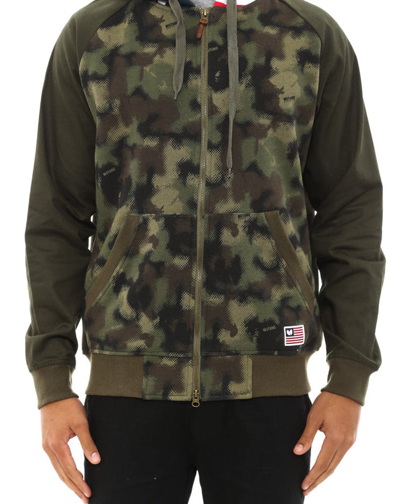 Spray Camo Zip up Hood Camo