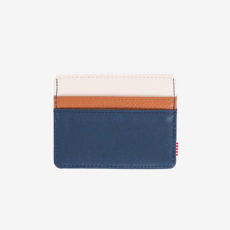 Charlie Leather Wallet Navy/white