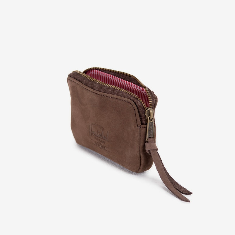 Oxford Leather Pouch Wallet Brown