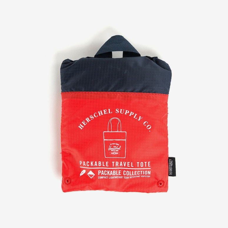 Packable Travel Tote Bag Navy/red