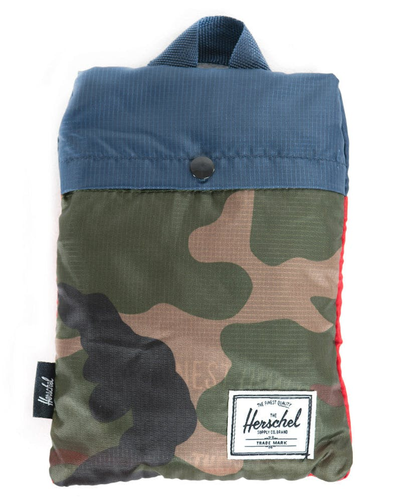 Packable Travel Tote Bag Camo/navy/red