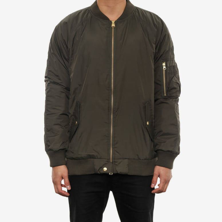 Faction Bomber Jacket Dark Green/red