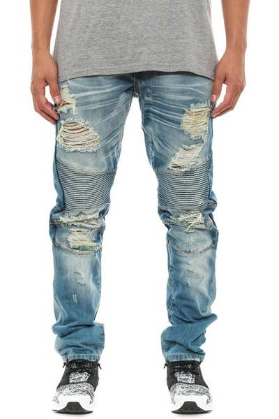 Maverick Splatter Biker Pant Light Denim