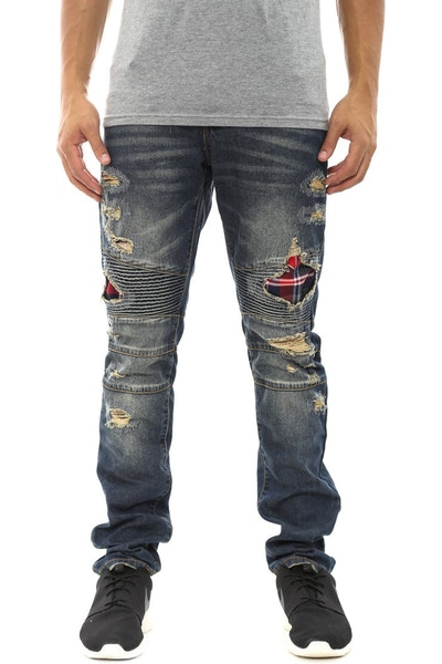 Biker Jean Denim/red/navy