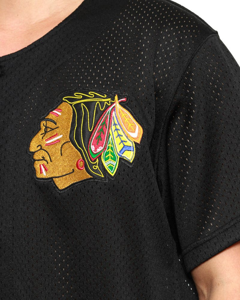 Blackhawks Mesh Button Jersey Black