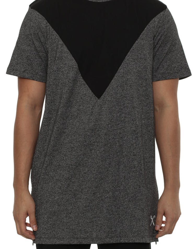 V Panel Luxe Tee Black Heather